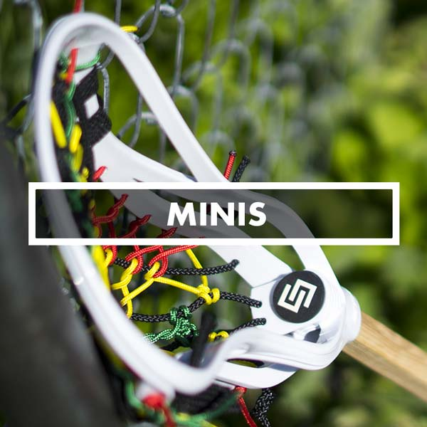 Mini Wood Lacrosse Fiddle Sticks, Mesh & Pita Custom Strung Pockets