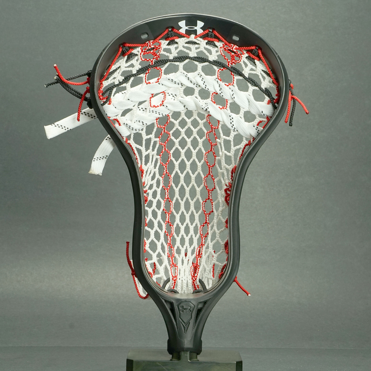 Under Armour Command Lacrosse Head Black PRESTRUNG with Pro Plus Mesh POCKET