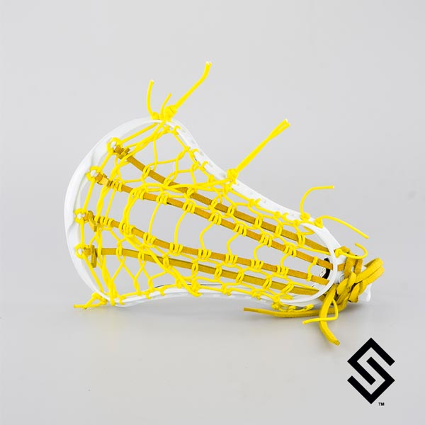 STX CRUX 600 White Lacrosse Head + PRESTRUNG with Yellow LADDER POCKET