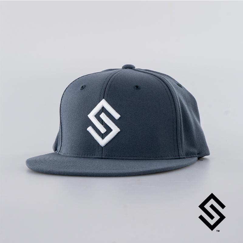 Stylin' Strings Snapback Flat Brim Hat Graphite with White Logo