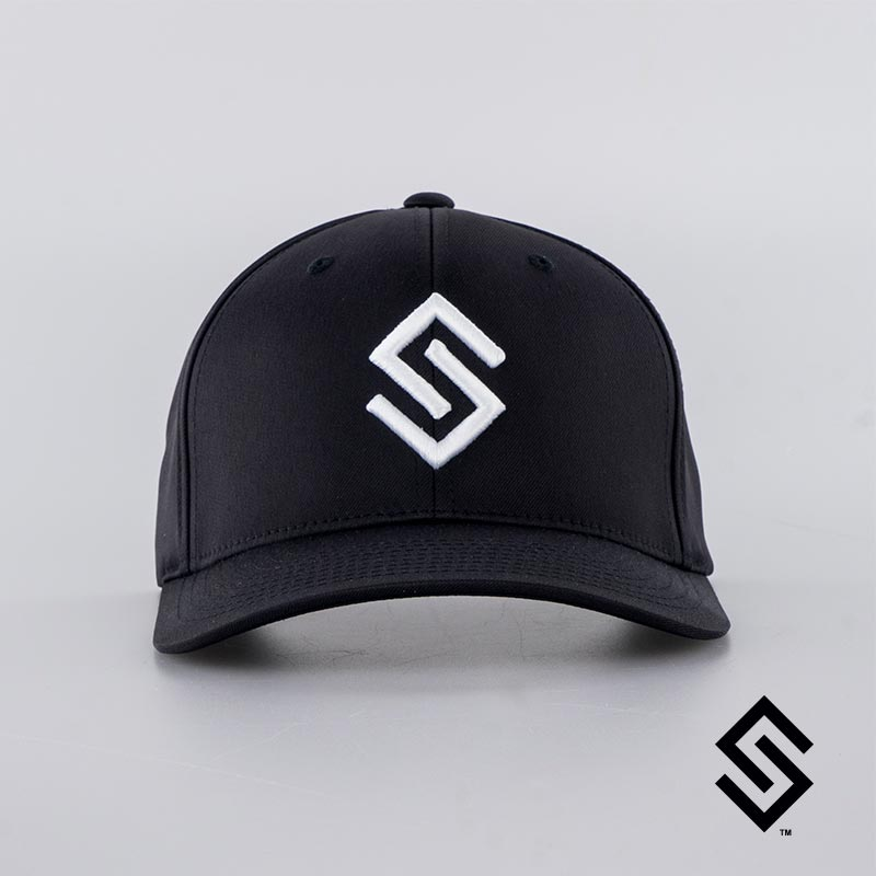 Stylin' Strings Performance Fitted Hat Black with White Logo