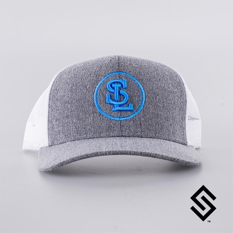 Stylin' Strings  String League Official Trucker Snapback Hat White and Heather Grey with Logo