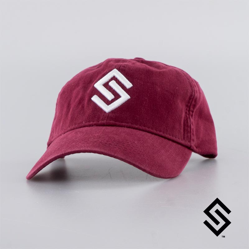 Stylin' Strings Unstructured Hat Red with White Logo