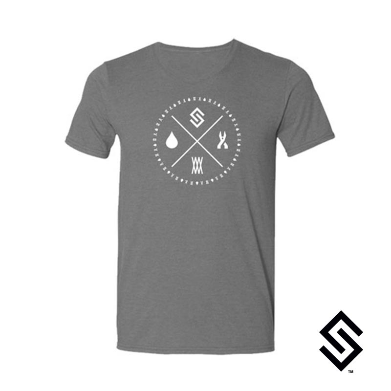 Stylin' Strings Longevity T-shirt Heather Grey with White Logo