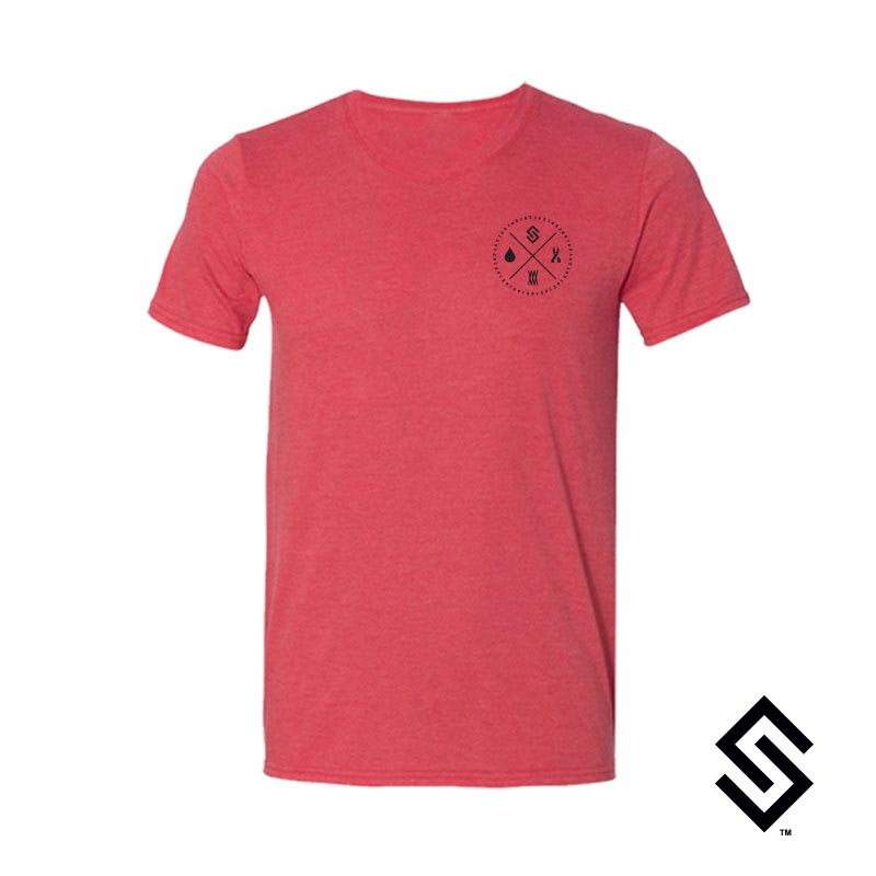 Stylin' Strings Longevity T-shirt Red with Black Pocket Logo