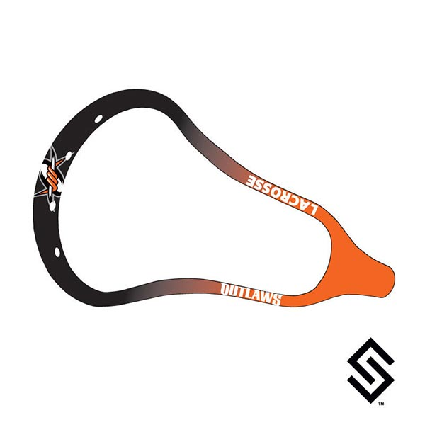 Denver Outlaws MLL Lacrosse Dye Job by Stylin' Strings Two Color Fade with Logo