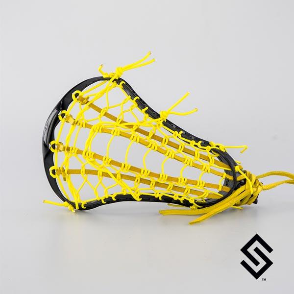 STX CRUX 600 Black Lacrosse Head + PRESTRUNG with Yellow LADDER POCKET