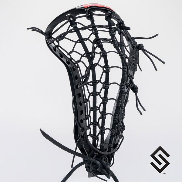 STX CRUX 600 Black Lacrosse Head + PRESTRUNG with Black LADDER POCKET