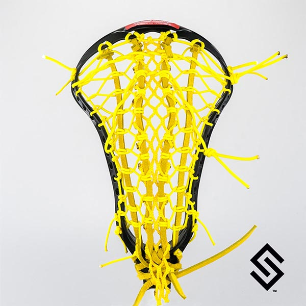 STX CRUX 600 Black Lacrosse Head + PRESTRUNG with Yellow Mesh-X POCKET