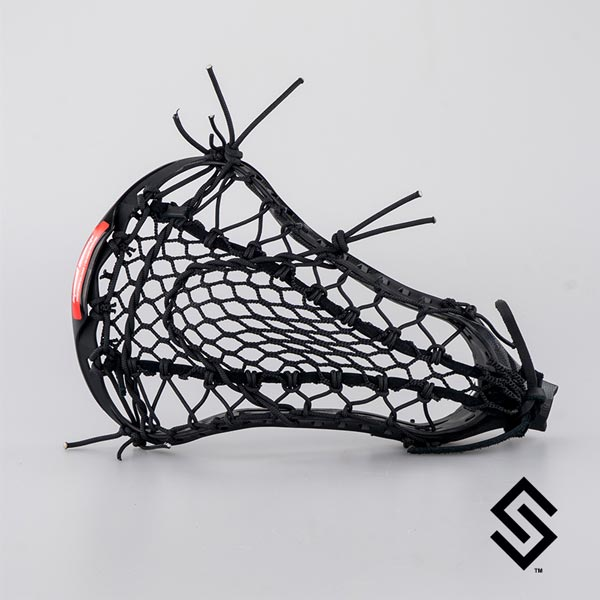 STX CRUX 600 Black Lacrosse Head + PRESTRUNG with Black Mesh-X Wide POCKET