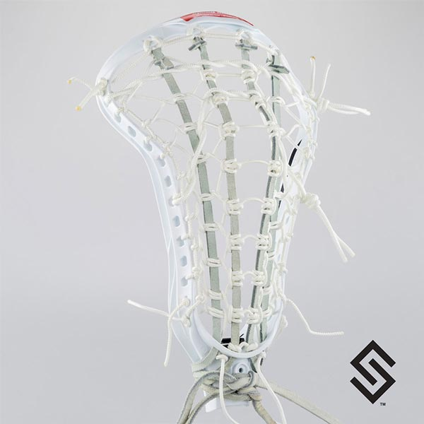 STX CRUX 600 White Lacrosse Head + PRESTRUNG with White LADDER POCKET