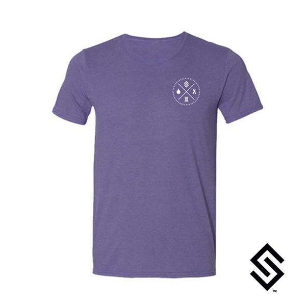Stylin' Strings Longevity T-shirt Purple with White Pocket Logo