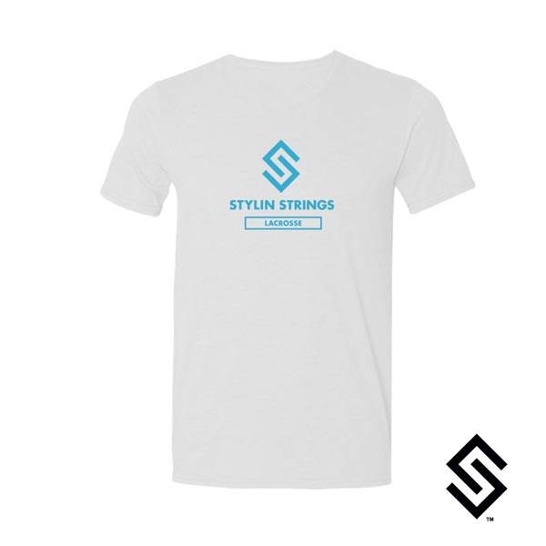 Stylin' Strings T-shirt White with Blue Logo